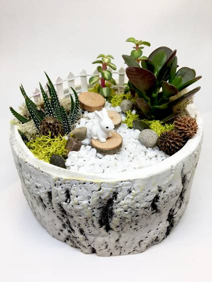 A Bunny Garden  Premium Birch Bowl plant nite project by Yaymaker