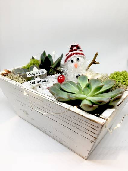 A Snowman with Fairy Lights  Rectangle Distressed Wood Box plant nite project by Yaymaker
