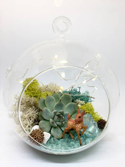 A Deer Hanging Globe with Fairy Lights plant nite project by Yaymaker