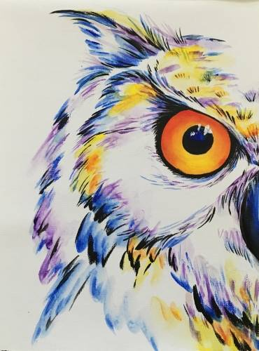 A white horned owl paint nite project by Yaymaker