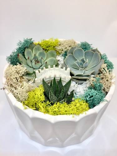 A Garden Bridge  White Round Ceramic plant nite project by Yaymaker