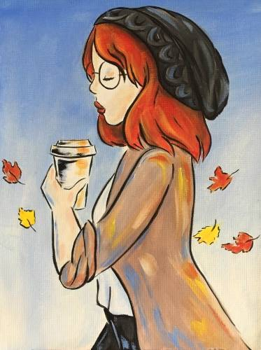 A Fall pumpkin Spice Latte paint nite project by Yaymaker