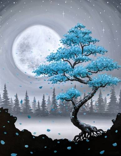 A Teal Bonsai Among the Misty Pines paint nite project by Yaymaker