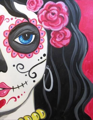 A Sultry Calavera Sugar Skull paint nite project by Yaymaker