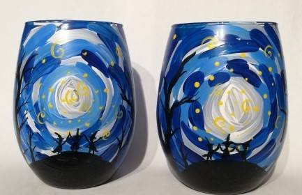 A Full Moon Magic  Wine Glasses paint nite project by Yaymaker