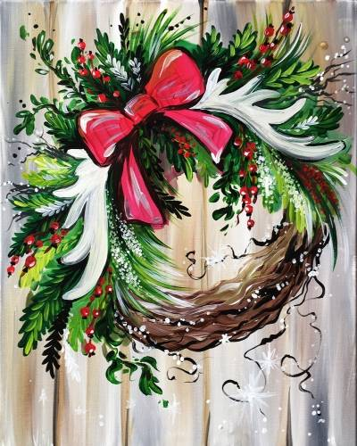 A Festive Wreath paint nite project by Yaymaker