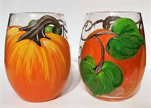 A Pumpkin Party  Wine glasses paint nite project by Yaymaker