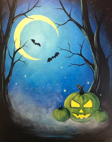 A Green Pumpkin Glow paint nite project by Yaymaker