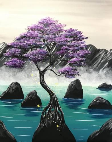 A Misty Mountain Violet Magic paint nite project by Yaymaker