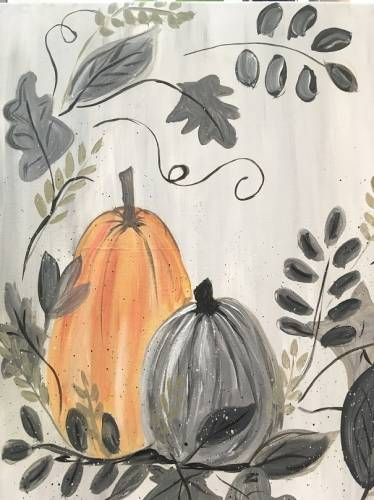 A Farmhouse Pumpkins paint nite project by Yaymaker