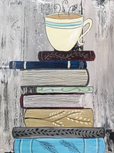 A A Latte of Books paint nite project by Yaymaker