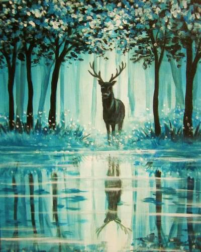 A Misty Teal Forest paint nite project by Yaymaker