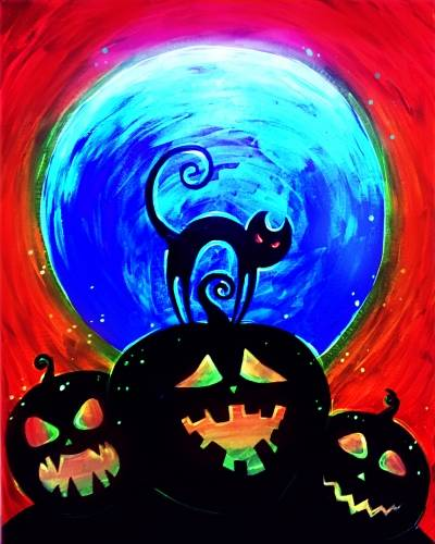 A Special Blacklight Event HALLOWEEN Pumpkins paint nite project by Yaymaker