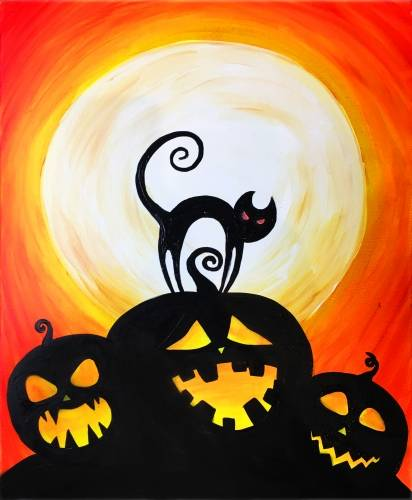 A Halloween pumpkins and a cat paint nite project by Yaymaker