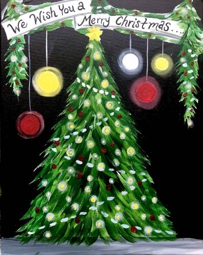 A We Wish You A Merry Christmas paint nite project by Yaymaker