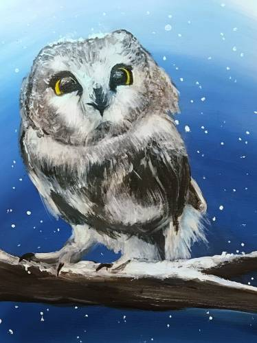 A Owl Be Frosty paint nite project by Yaymaker