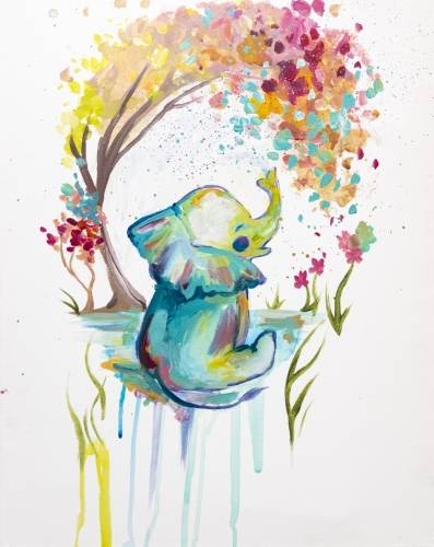 A Splashing Rainbow Baby Elephant paint nite project by Yaymaker