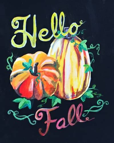 A Hello Fall Pumpkins paint nite project by Yaymaker