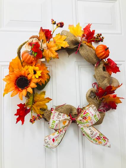 A DIY Fall Harvest Wreath plant nite project by Yaymaker