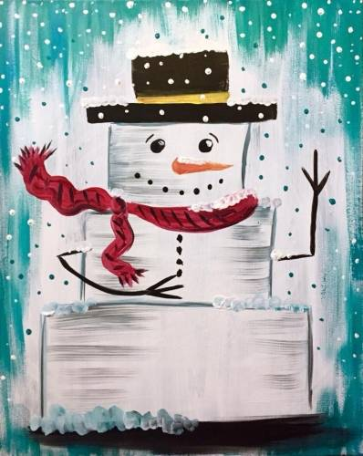 A Block Snowman paint nite project by Yaymaker