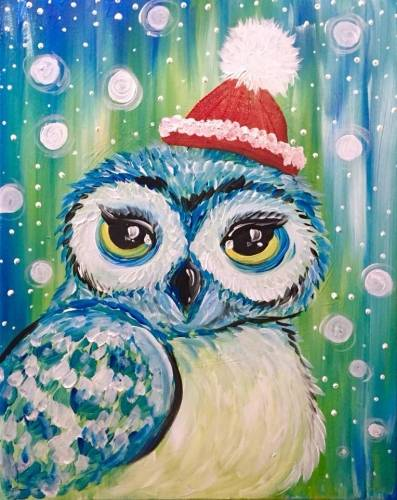 A Cute Holiday Owl paint nite project by Yaymaker