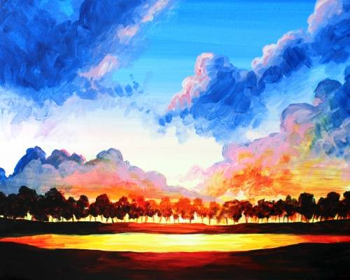 A I Dream About a Cloudy Sky paint nite project by Yaymaker