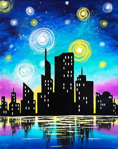 A Starry Lake Skyline paint nite project by Yaymaker