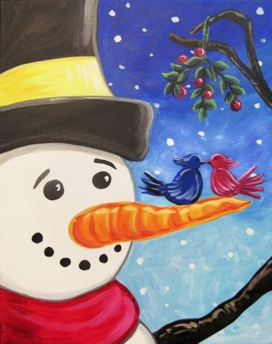 A Snowman Giving a Hand paint nite project by Yaymaker