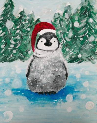 A Snowy Little Penguin paint nite project by Yaymaker