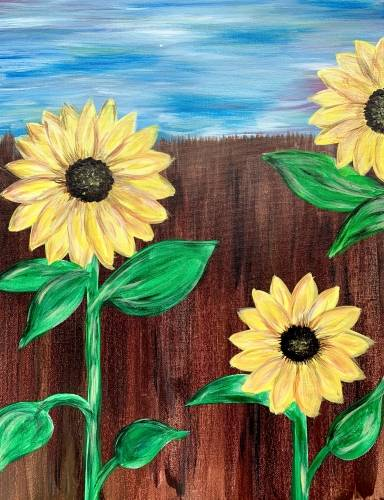 A Beautiful Sunflower Day paint nite project by Yaymaker