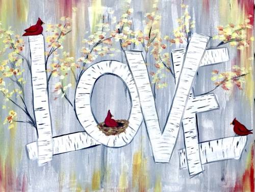 A Cardinals Love Birches paint nite project by Yaymaker
