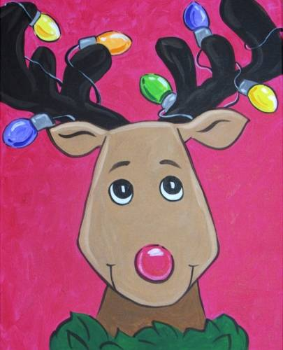 A Lit Up Rudolph paint nite project by Yaymaker