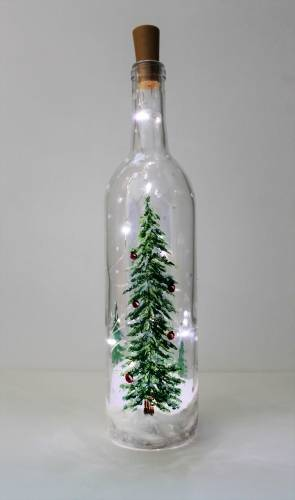 A Twinkling Tree Wine Bottle with Fairy Lights paint nite project by Yaymaker