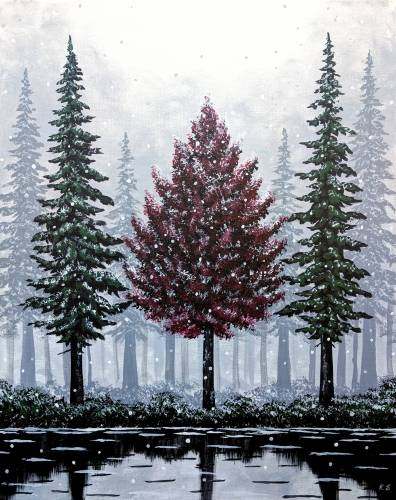 A Ever Red Tree among the Snowy Evergreens paint nite project by Yaymaker