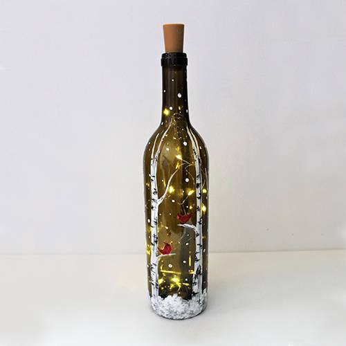 A Birch Buddies Wine Bottle with Fairy Lights paint nite project by Yaymaker