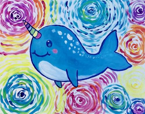 A Starry Rainbow Narwhal paint nite project by Yaymaker