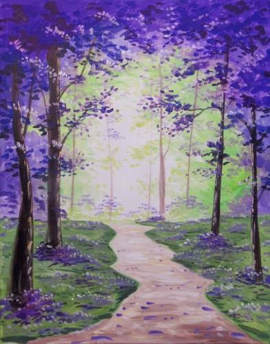 A Year Round Purple Blossom Forest paint nite project by Yaymaker