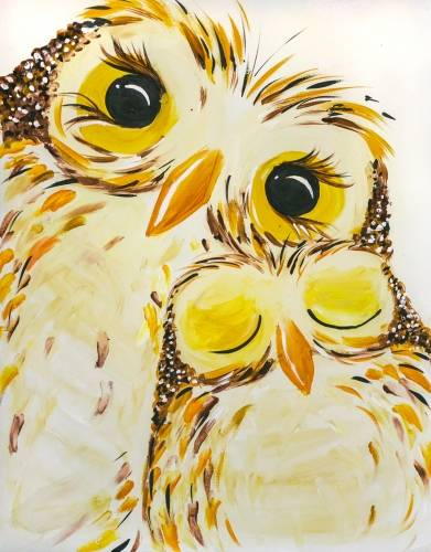 A Snowy Owl Snuggle paint nite project by Yaymaker