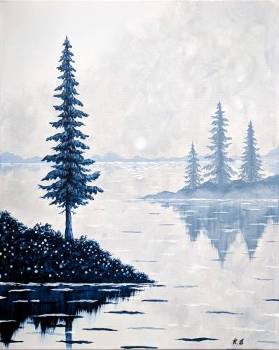 A Blue Pines in the Mist paint nite project by Yaymaker