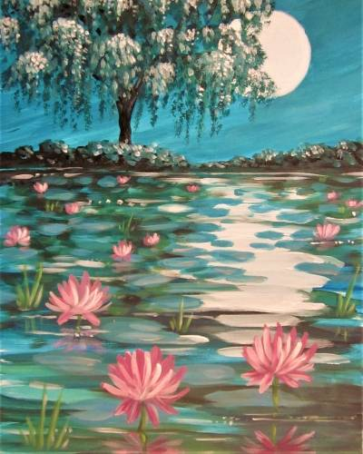 A Lily Pond at Twilight paint nite project by Yaymaker