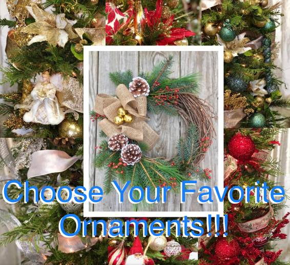 A Choose Your Favorite Boutique Ornaments LIVE Wreath plant nite project by Yaymaker