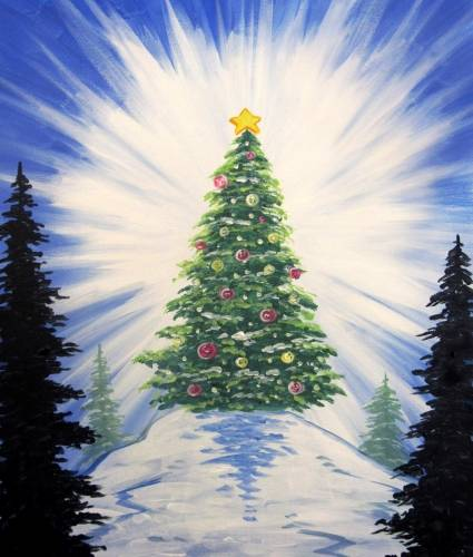 A Luminous Holiday Tree paint nite project by Yaymaker