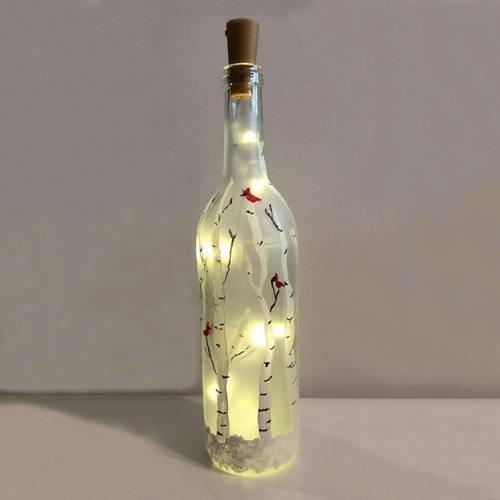 A Wine Bottle Frosty Birches Twinkle Lights paint nite project by Yaymaker