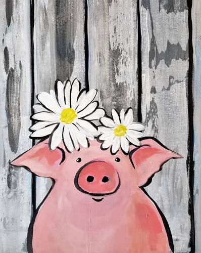 A Lil Barnwood Piggie paint nite project by Yaymaker