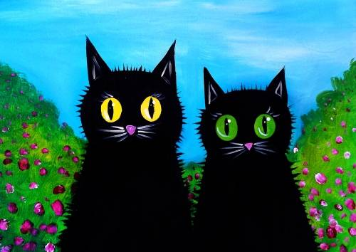 A Cats In The Bushes paint nite project by Yaymaker