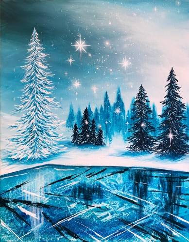 A Frozen Winter Lake II paint nite project by Yaymaker