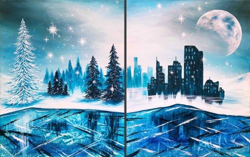 A Frozen Winter Lake Partner Painting paint nite project by Yaymaker