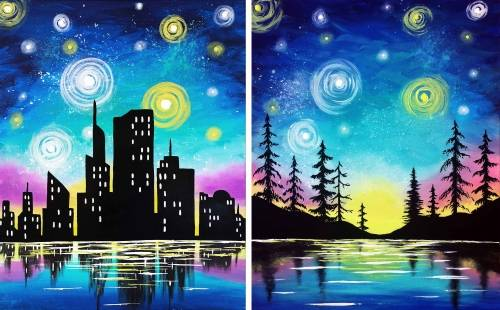 A Starry Lake Sunset Partner Painting paint nite project by Yaymaker
