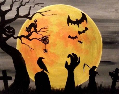A HALLOWEEN SPOOKTACULAR Customizable Stencil Painting paint nite project by Yaymaker