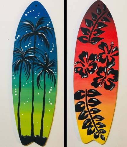A Paint Your Surfboard Special Event paint nite project by Yaymaker